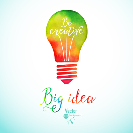 pensando: bombilla hecha de acuarela, bombilla y los iconos creativos, acuarela concepto creativo. Concepto del vector - la creatividad y la idea. Letras. citar. creativo de la bombilla, Idea grande, la investigación creativa Vectores