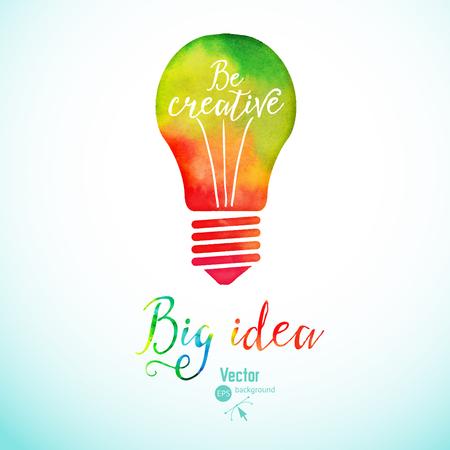 Glühbirne aus Aquarell, Glühbirne und kreative Icons, Aquarell kreative Konzept. Vektor-Konzept - Kreativität und Ideen. Beschriftung. Zitat. Creative-Glühbirne, Big Idee, kreative Forschung