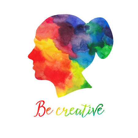 Vector  watercolor human head icon. Female. Woman. Watercolor creative concept. Vector concept - creative person. Lettering. quote. Creative artist