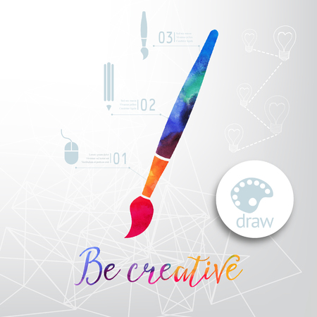 paintbrush: Vector paint brush silhouette made of watercolor, creative icons, watercolor creative concept. Vector concept - creativity and draw. Lettering. quote. Creative artist tool. Paint brush icon vector