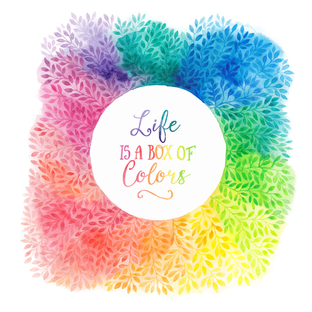 Vector colorful watercolor wreath. Frame with copyspace for your text. Watercolor background with empty circle frame