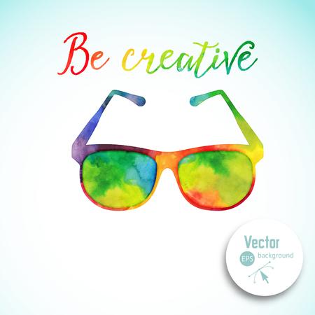 vasos: gafas de sol hechas n de la acuarela de colores, gafas retro vector de dibujos animados. Concepto creativo. ? Reative visión, vista artístico