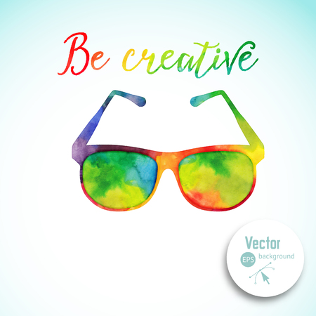 Sun glasses made n of colorful watercolor,  vector retro cartoon glasses. Creative concept. ?reative vision, artistic sight Illustration