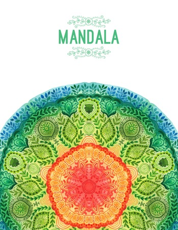 oriental style: Vector watercolor mandala. Decor for your design, lace ornament. Round pattern, oriental style