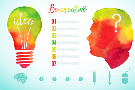persons: Vector watercolor human head icon. Watercolor creative concept. Creative person. Lettering. quote. Creative artist, Light bulb, creative research icons, Vector concept - creativity and idea.