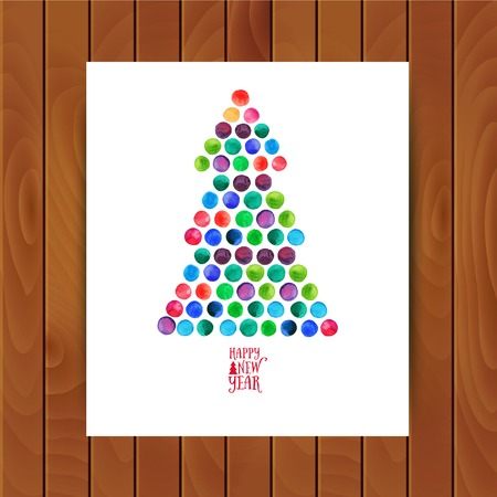Merry Christmas and Happy New Year greeting card, Christmas tree made of watercolor circles. Watercolor Xmas Tree Isolated on the White Background. Illustration