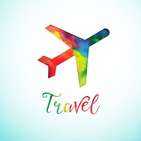 consept: Watercolor plan sign, travel consept Watercolor travel icon Airplane icon.