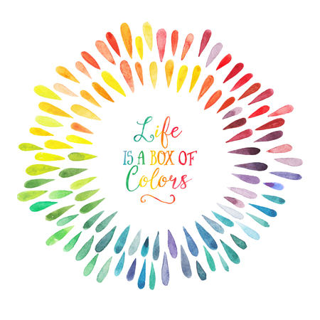 arco iris: ofrenda floral vector de la acuarela del arco iris de colores con gotas