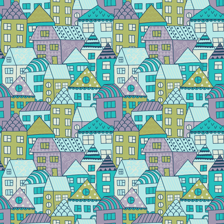 town houses: Cute cartoon pattern with tiny houses and trees. Hand drawn seamless ornament with hand drawn town.