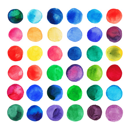 Vector watercolor circles. Retro hand drawn circles ornament. Round shapes. Color cell. round shapes. Geometric painted ornament. Grunge colorful rounds shapes.