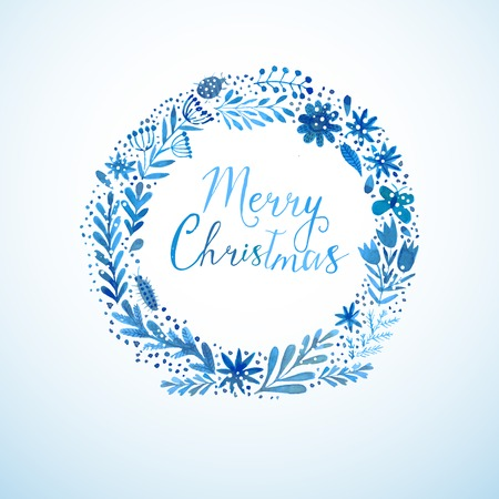 color water: Vector watercolor colorful circular floral wreaths with summer flowers and central white copyspace for your text. Vector handdrawn sketch of wreath with flowers. Merry Christmas design