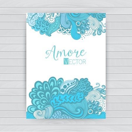 waves ocean: Abstract invitation card with abstract wave. Template wavy frame design for card, banner on wood Illustration