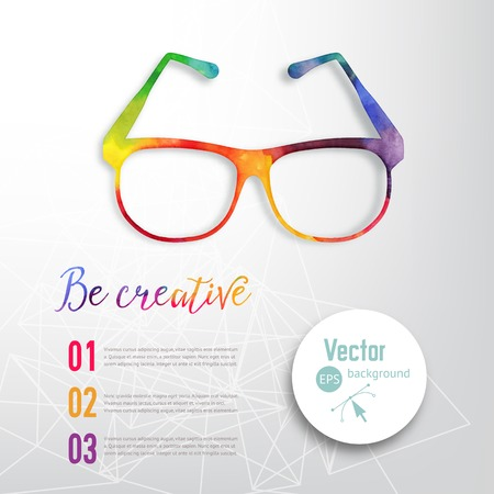 eyeglass: Sun glasses made n of colorful watercolor,  vector retro cartoon glasses. Creative concept. ?reative vision, artistic sight.