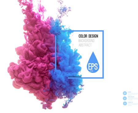 벡터 추상 구름. 물에 잉크 소용돌이 치는 물에서 잉크의 구름 화이트에 격리입니다. 추상 배너 페인트. HOLI.
