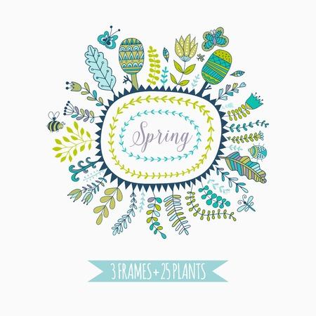 spring leaf: Vector decorative frames and leaf. Spring elements. Floral doodles Illustration
