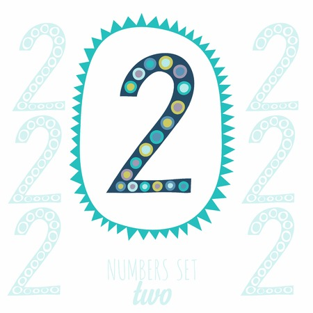 null: Whimsical hand drawn number 2 two. Hand-drawn numbers. Vector sketch illustration isolated on white background
