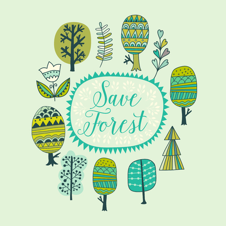 bstract: Hand drawn colorful doodle frame  background. Vector illustration. bstract trees sketch collection cartoon vector illustration Illustration