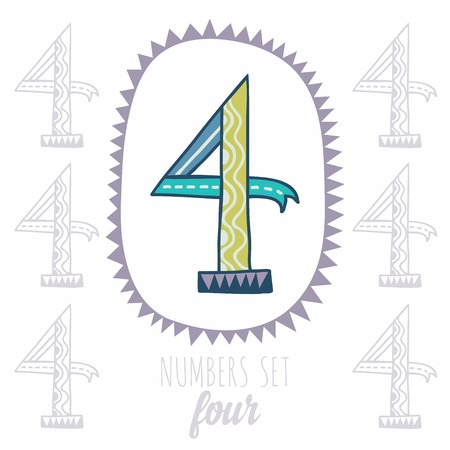 null: Whimsical hand drawn number 4 four. Hand-drawn numbers. Vector sketch illustration isolated on white background
