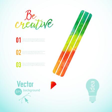 creativity symbol: Vector colorful pencil icon, Artist at work. Ink pencil, symbol of visual art vector illustration. Creativity concept with colorful pencil. Watercolor pencil. Illustration