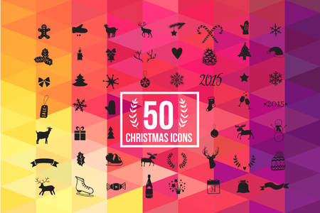 christmas icon: vector christmas icon set, winter silhouette with colorful background  50 icons Illustration