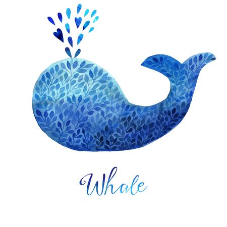 ballena azul: Ejemplo de la ballena azul. ballena de la acuarela. Ilustración del vector de la ballena acuarela, hecha de adorno de flores azules