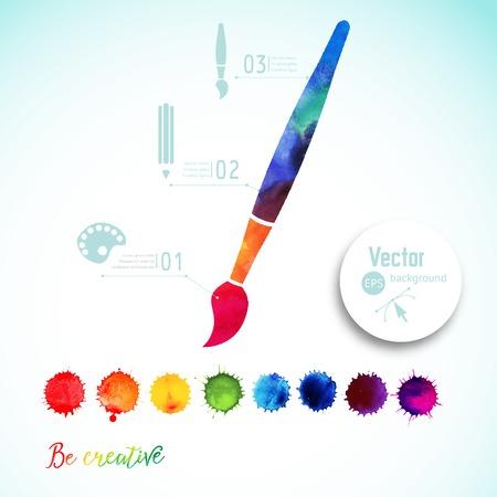 Vector kwast silhouet gemaakt van aquarel, creatieve iconen, waterverf creatief concept. Creativiteit en draw. Belettering. citaat. Artist tool. Kleurrijke Abstract vector inkt verf markeringen Stock Illustratie