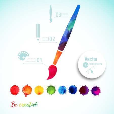 colorful paint: Vector paint brush silhouette made of watercolor, creative icons, watercolor creative concept. Creativity and draw. Lettering. quote. Artist tool. Colorful Abstract vector ink paint splats