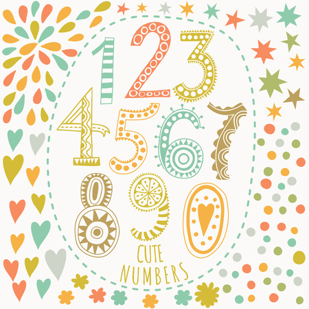 Whimsical hand drawn numbers, from one to zero. Hand-drawn numbers. Vector sketch illustration isolated on white background Illustration
