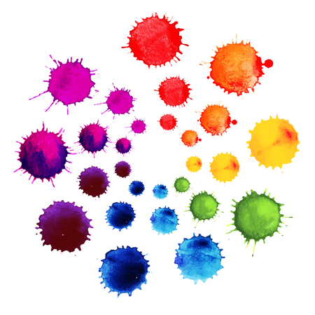 Abstract flower made of watercolor blobs. Colorful abstract vector ink paint splats. Color wheel