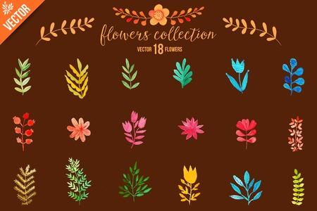 albero da frutto: Fiori colorati impostati. Fogliame. Vector illustration.vector set di foglie di acquerello rosso d'autunno e frutti di bosco, disegnati a mano elementi di design.