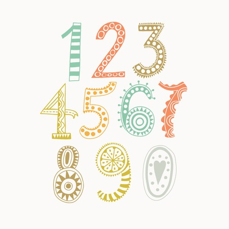 7 9: Whimsical hand drawn numbers, from one to zero. Hand-drawn numbers. Vector sketch illustration isolated on white background Illustration