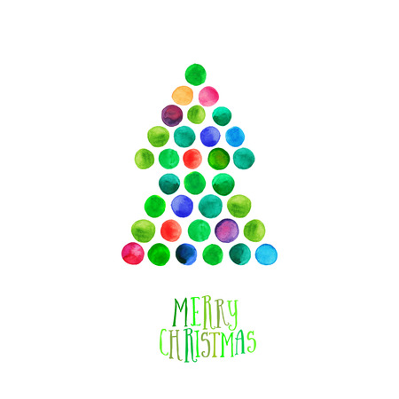 xmas tree: Merry Christmas and Happy New Year greeting card, Christmas tree made of watercolor circles. Watercolor Xmas Tree Isolated on the White Background. Illustration