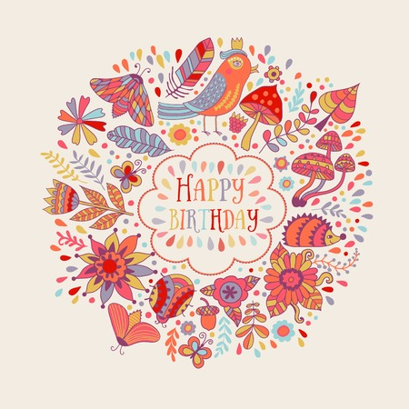 hedgehog: Happy birthday floral frame, vector doodle invitation background Illustration