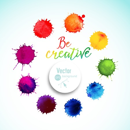 Vector rainbow watercolor blobs. Circle frame of  colorful paint drops, watercolor background,colorful paint drops texture. Vector illustration, stain watercolor. Paints composition 矢量图像