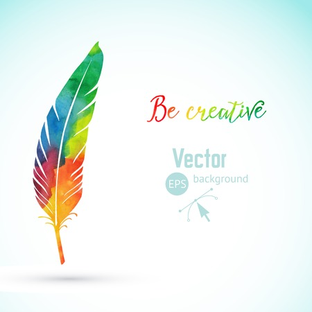 Vector watercolor writing feather. Colorful vector feather. Watercolor silhouette of feather
