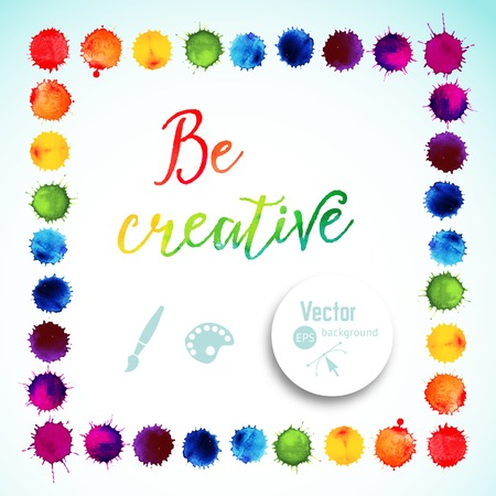 a stain: Vector square frame made of watercolor rainbow blobs, colorful paint drops texture. Vector illustration, stain of watercolors. Paints composition Illustration