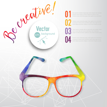 eyeglass: Sun glasses made n of colorful watercolor,  vector retro cartoon glasses. Creative concept. ?reative vision, artistic sight Illustration