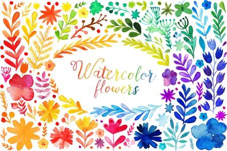 カラフルな水彩のセットを残します。イラストのフレームをベクトル、ベクトルの赤い秋葉の水彩画とベリーのセット、手の描かれたデザイン要素