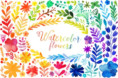 Set of colorful watercolor leaves. Vector illustration frame, vector set of red autumn watercolor leaves and berries, hand drawn design elements Banco de Imagens - 49061916
