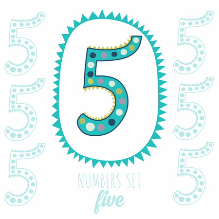 whimsy: Whimsical hand drawn number 5 five. Hand-drawn numbers. Vector sketch illustration isolated on white background