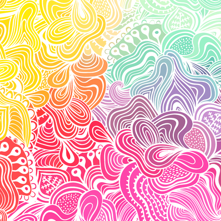 curly: Vector abstract hand-drawn waves texture, wavy background. Colorful waves backdrop