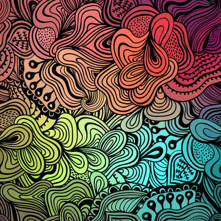 abstract doodle: Vector abstract hand-drawn waves texture, wavy background. Colorful waves backdrop