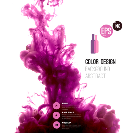 abstract swirls: Vector abstract cloud. Ink swirling in water, cloud of ink in water isolated on white. Abstract banner paints. Holi. Liquid ink. Background for banner, card, poster, poster, identity,web design.Juice.