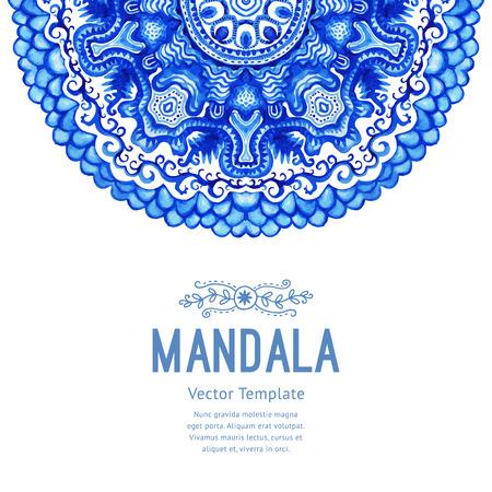 motif floral: Vector aquarelle mandala. Décor pour votre conception, ornement de dentelle. motif rond, style oriental.