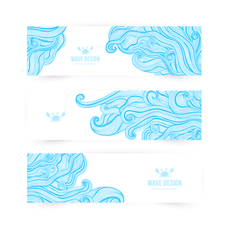 waves ocean: Vector illustration, wave banners with ocean waves can be used as a greeting card. Banners.