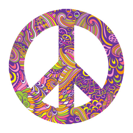 60's: Vector pacifism sign. Hippie style ornamental background. Love and peace, hand-drawn doodle background and textures. Colorful peace symbol on white background. Retro 1960s, 60s, 70s.