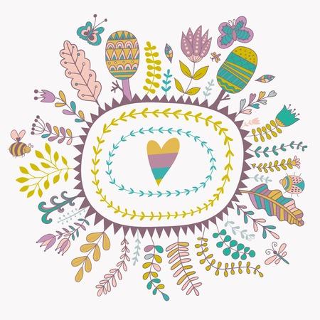 spring leaf: Vector decorative frames and leaf. Spring elements. Floral doodles.