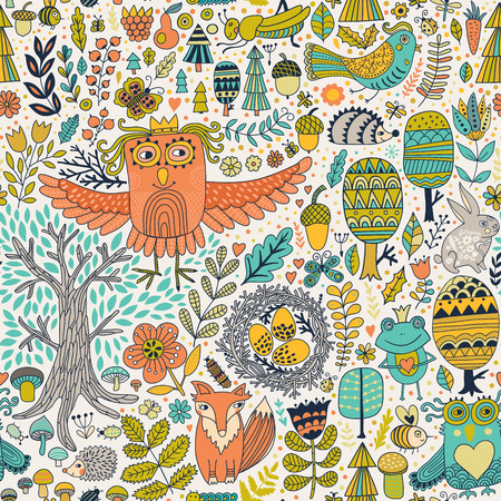 wild rabbit: Vector forest design, floral seamless pattern with forest animals:  frog, fox, owl, rabbit, hedgehog. Vector background with butterflies,bugs, bees, trees and flowers in childish style. Illustration