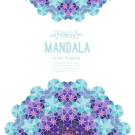 morado: Vector púrpura mandala. Decoración para el diseño, encajes adorno. Patrón de Ronda, de estilo oriental.