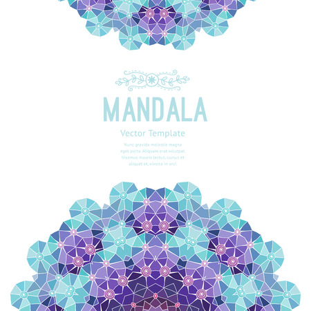 label tag: Vector purple mandala. Decor for your design, lace ornament. Round pattern, oriental style.